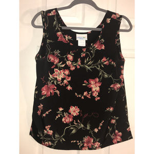 Caribbean Traders Black Floral Tank, Size Small